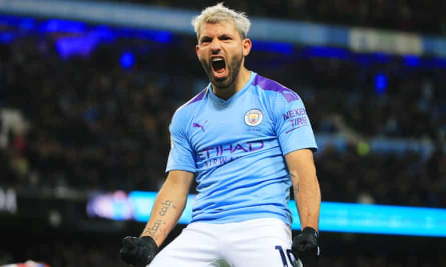 Sergio Agüero celebrates scoring his second goal for Manchester City against Crystal Palace