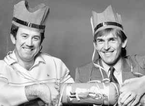 Kenny Dalglish and Howard Kendall enjoying Christmas together in December 1985.