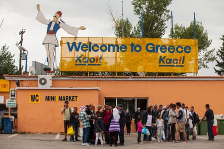 Refugees have a rest at the Hotel Hara on the Greek side of the border at Eidomeni.