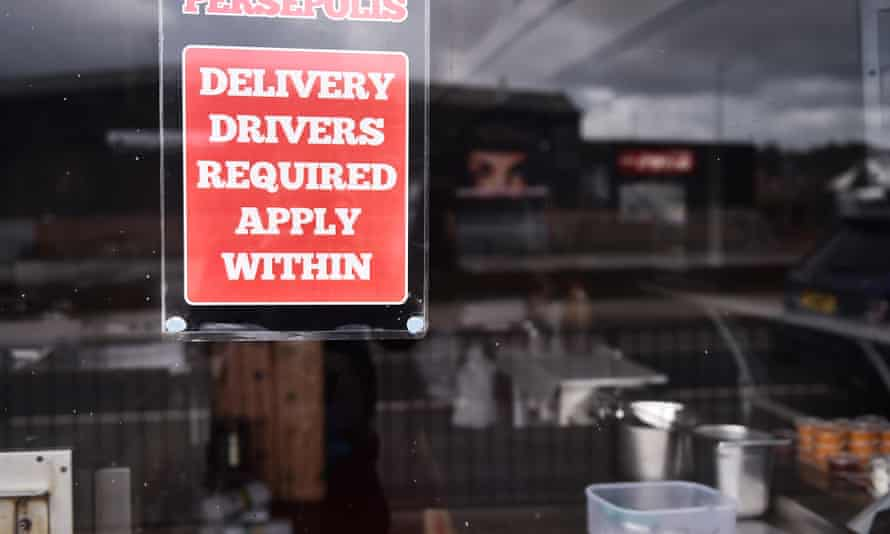 Job vacancies advertised at a takeaway shop last March in Staffordshire, England