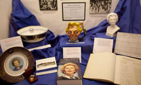 A glass case displaying memorabiblia from Margaret Thatcher in the Grantham Museum. Amanda Schonhut, director of the museum said the cost of the unveiling was being funded through private donations.