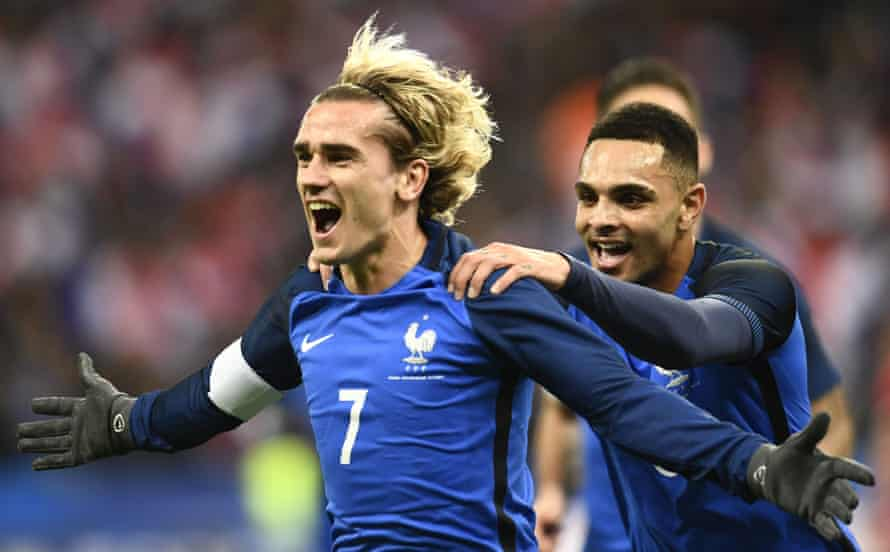 Antoine Griezmann celebrates after opening the scoring for France against Wales at the Stade de France.