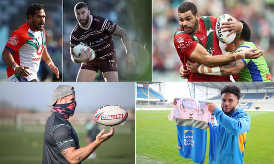 Clockwise from top left: St Helens pair Agnatius Paasi and Joel Thompson; new Warrington arrival Greg Inglis, Leeds Rhinos' signing Kyle Eastmond; and Korbin Sims in training with Hull KR.