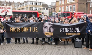 A protest against Dan Reed and his film outside Channel 4's offices in London in March 2019.