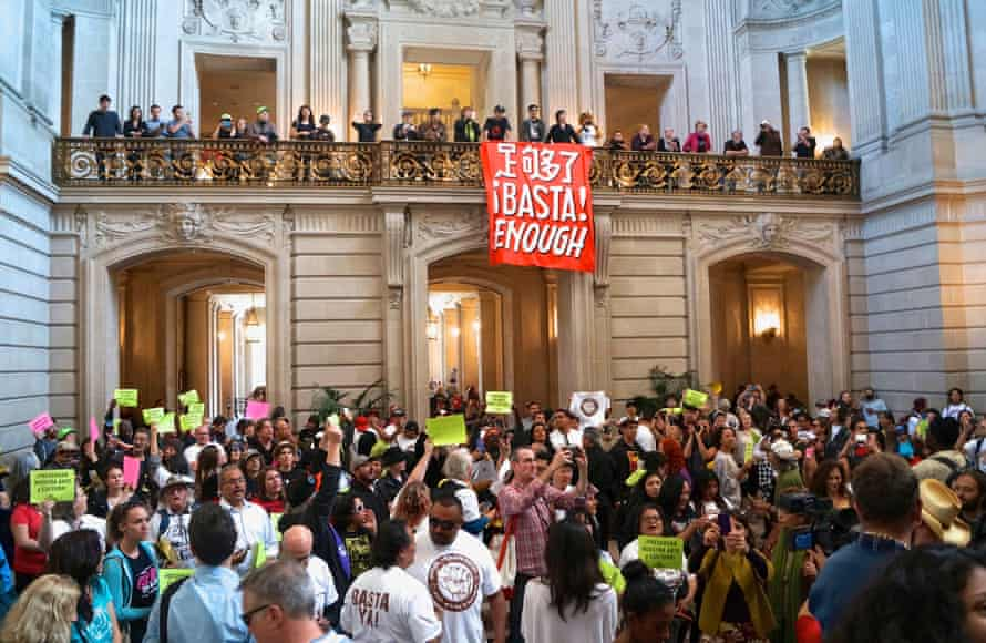 Hispanic groups storm San Francisco City Hall to protest the proposed Mission housing project supported by Trauss and the yimbys.