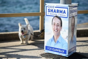 Signage for Liberal candidate for Wentworth Dave Sharma at Clovelly Beach.