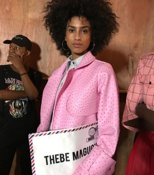 """Bold colours and themed bags Imaan Hammam backstage at Thebe Magugu's """"Gender Studies"""" SS18 show"""