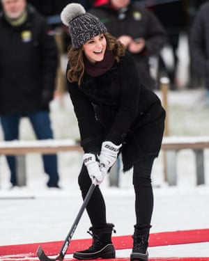 Pom-pom pomp… Catherine, Duchess of Cambridge hits a hockeyball on a royal visit to Sweden and Norway in 2018.