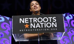 Alexandria Ocasio-Cortez speaks at the Netroots Nation annual conference for political progressives in New Orleans, Louisiana, on Saturday.
