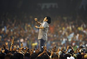 Maradona gestures as he attends a felicitation programme at Salt Lake Stadium in Kolkata, India, in 2008