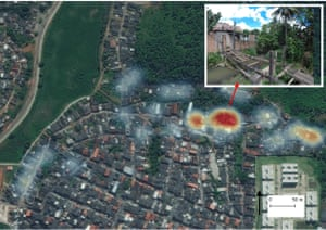 Urban Health Programme research showing how leptospirosis cases are concentrated near an open sewer.