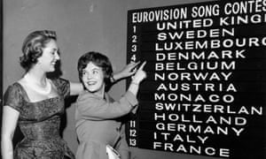 Katie Boyle, left, checking the Eurovision Song Contest scores of 1960.