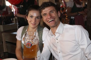 Thomas Müller and his wife Lisa seem to be enjoying proceedings too