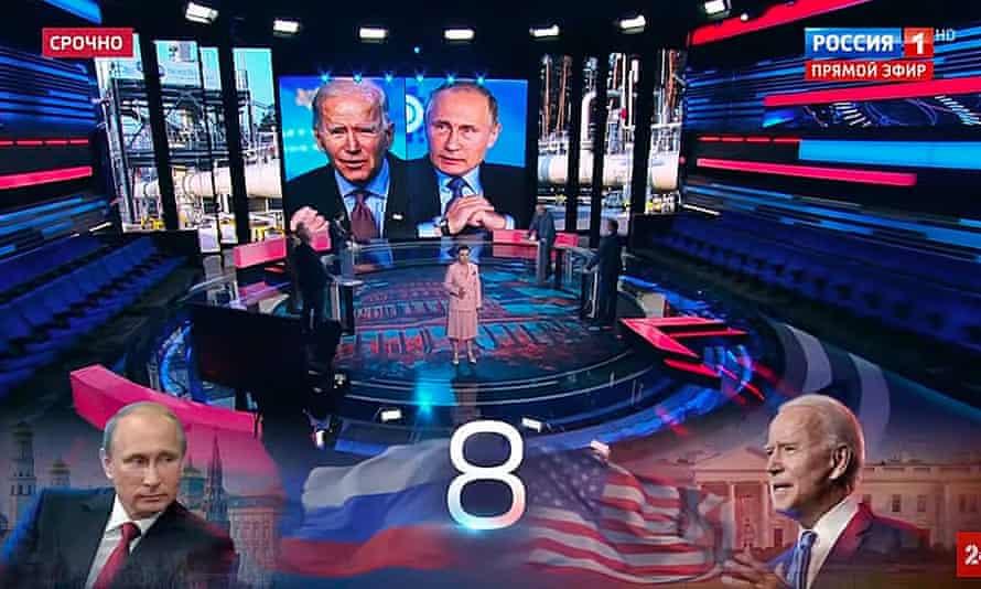 Putin and Biden on Russian TV.