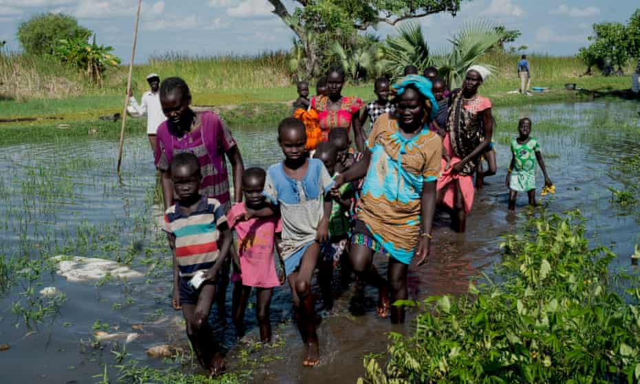 Displaced families reach Nyal after spending several weeks hiding in the Sudd swamps to escape government forces.