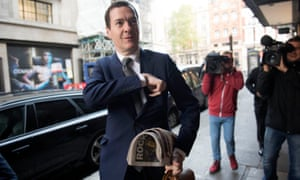 George Osborne arrives for his first day as Evening Standard editor