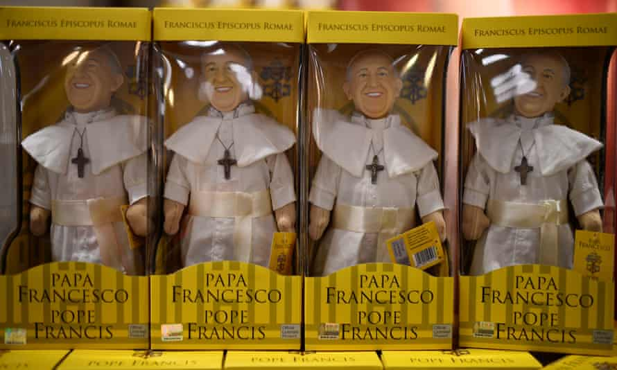Souvenir figures of Pope Francis on sale in Ireland. The pope is due to visit this weekend.