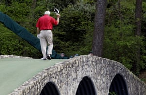 9 April 2004. Palmer walks across the Hogan bridge on the 12th fairway for the final time in Masters competition during the second round of the Masters at Augusta.