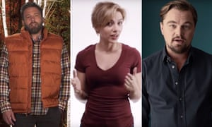 Ben Affleck, Scarlett Johansson and Leonardo DiCaprio encouraging people to vote.