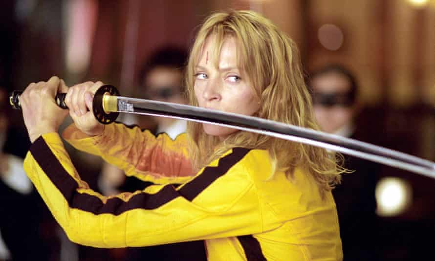 Uma Thurman in Kill Bill … she was left with permanent injuries from the car crash that happened during filming.