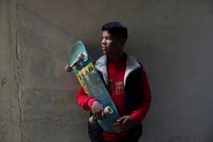 Mustafa with his skateboard