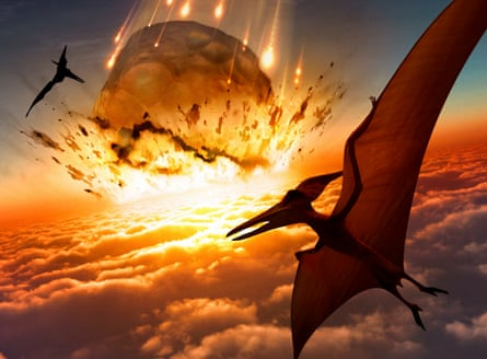 An asteroid strikes Earth as flying reptiles look on. Somehow the solenodon survived this.