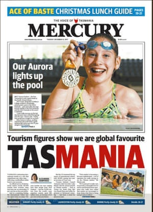 Hobart Mercury front page 12 December 2017
