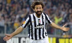 Andrea Pirlo celebrates after scoring for Juventus in the Europa League quarter-final against Lyon in April 2014
