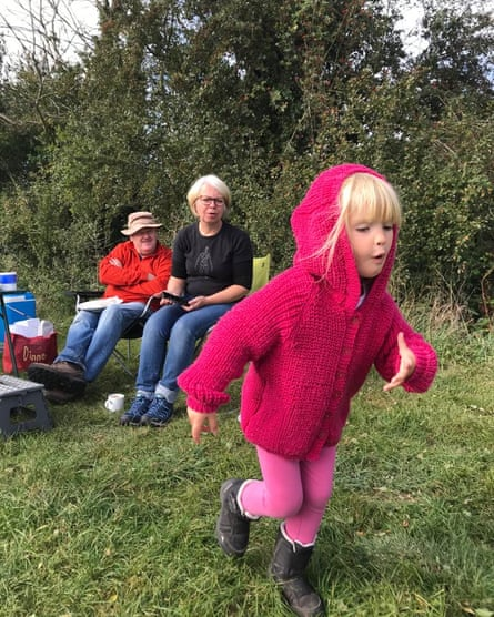 Mandie Shilton Godwin with her husband Pete and granddaughter Eleni on a camping trip