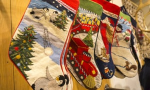 Christmas stockings on display in the Lands' End holiday pop-up store on Fifth Avenue in New York