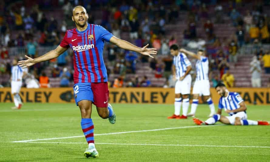 Martin Braithwaite celebrates scoring Barcelona's third goal – his second – on their way to victory over Real Sociedad.