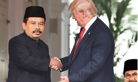 Nurhadi and Aldo meet Donald Trump in this doctored image. The image features on the social media account of two fake candidates for the Indonesia presidential election in April 2019.
