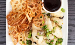 PF Chang black cod with lotus chips