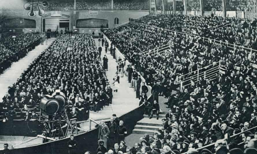 Thousand attend a Blackshirts rally to hear Oswald Mosley speak at Olympia Stadium, London, in June 1934.