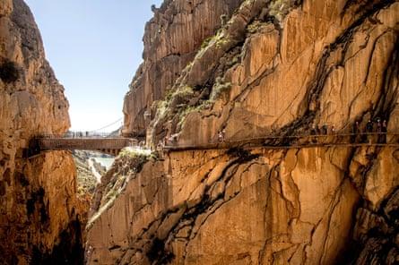 El Caminito del Rey footpath (King's Little Path) in a gorgein Malaga, Spain
