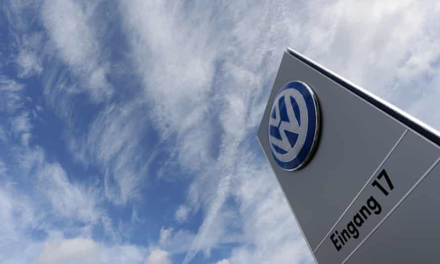 The Volkswagen logo in Wolfsburg, Germany