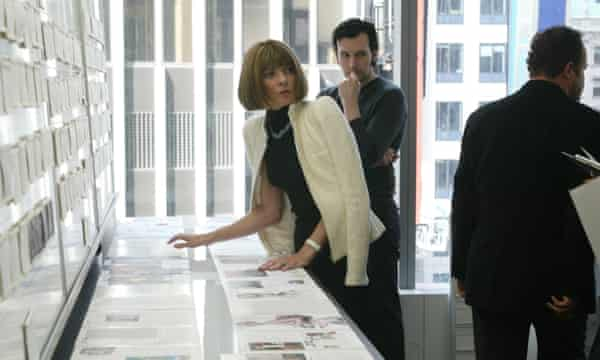 Anna Wintour, the editor of Vogue, goes over page layouts at the magazine's offices in New York, 2003.