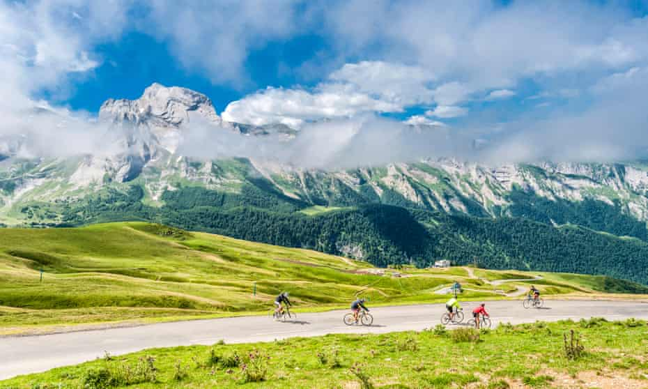 Cyclists tackle a route in the Pyrenees national park, France.