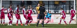 Scott McLeish playing in goal for Chesham against Gosport.