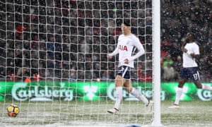 Son Heung-min of Tottenham scores his team's fifth goal of the game.