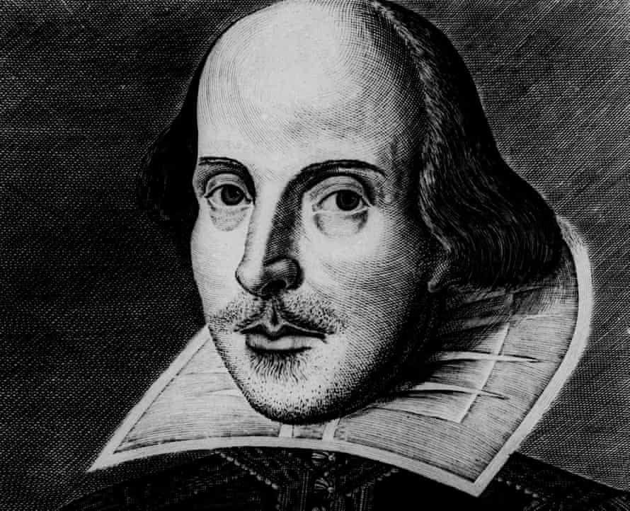 An engraving of William Shakespeare by Martin Droeshout, which appeared on the cover of the First Folio in 1623.