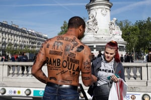 Paris, France A man with his body covered with racist insults