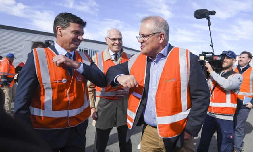 Australia's energy minister Angus Taylor and prime minister Scott Morrison