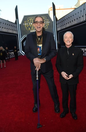 Standing at 2.2 metres is Peter 'Chewbacca' Mayhew, left, with Anthony Daniels, who plays C-3PO.