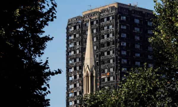 The burnt out remains of Grenfell Tower seen from North Kensington, London.