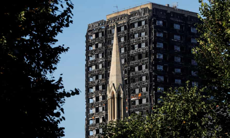The burnt remains of Grenfell tower, pictured this month.