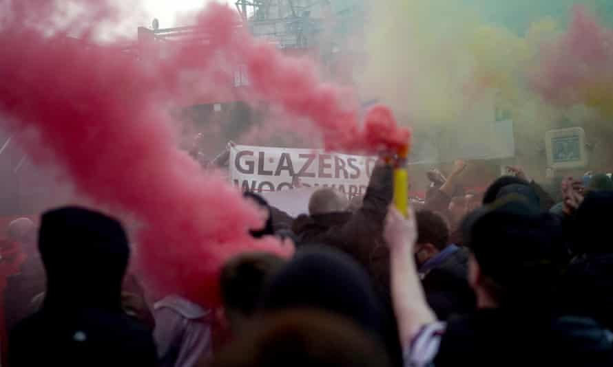 Manchester United fans protesting outside Old Trafford against the Glazer family's ownership this month.