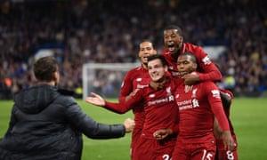 Liverpool celebrate Daniel Sturridge's late equaliser at Chelsea last season
