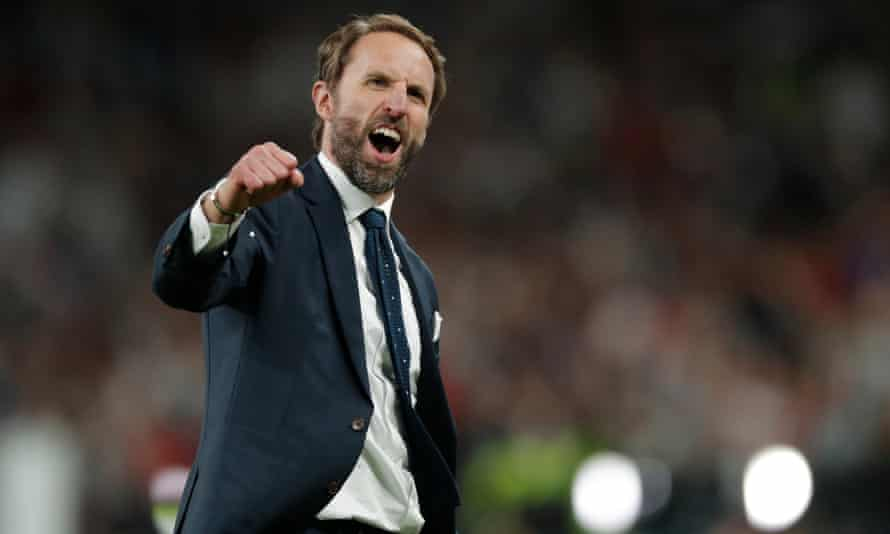 Gareth Southgate celebrates England's victory over Denmark in extra time of the Euro 2020 semi-final