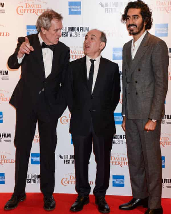 With Hugh Laurie and Dev Patel for the premiere of The Personal History of David Copperfield at the London Film Festival.